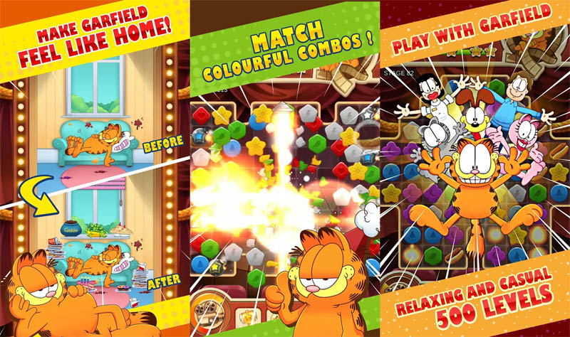 Garfield Puzzle M - Make Garfield feel like home Match colourful combos 500 levels