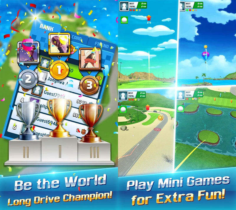 Golf Hero - Be the world long drive champion Play mini games for extra fun