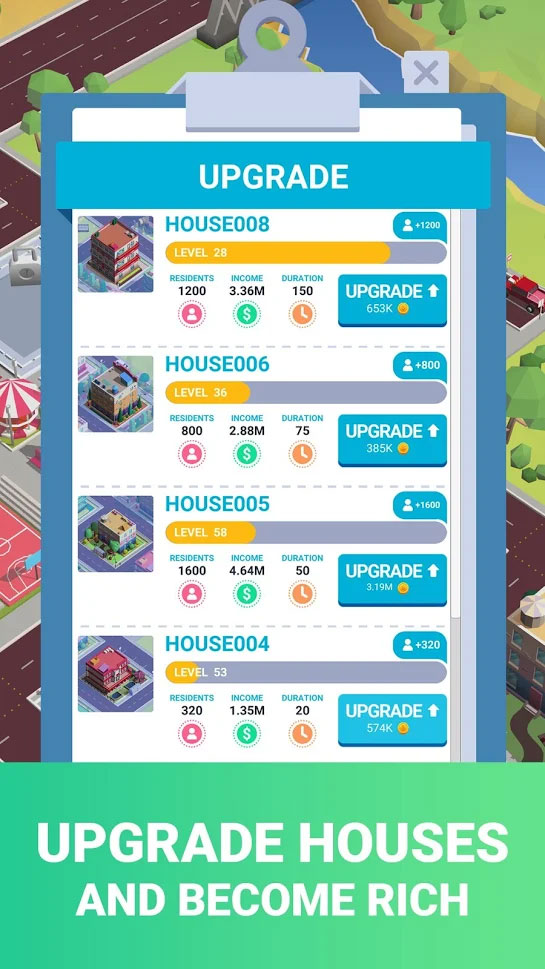 Idle City Building Tycoon - Upgrade Houses and become rich