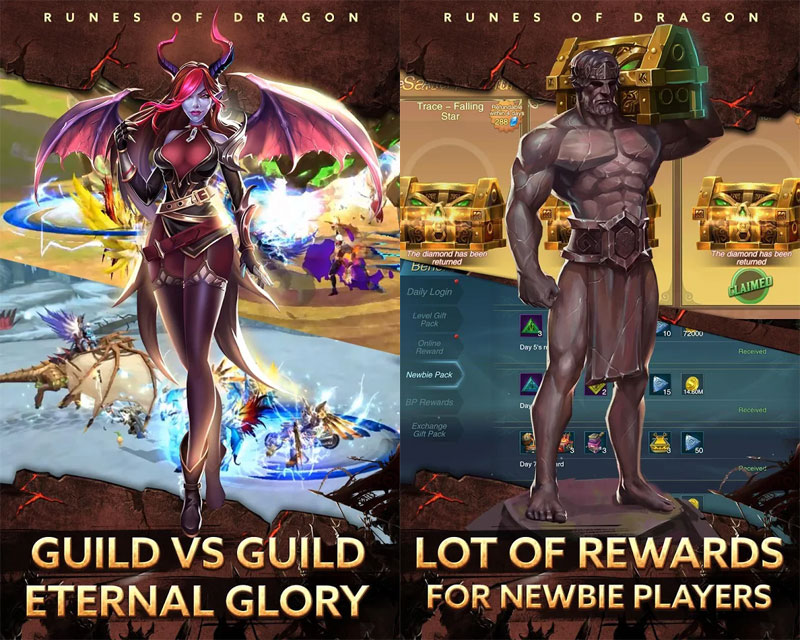 Runes of Dragon - Guild vs Guild Eternal Glory Lot of Rewards for newbie players