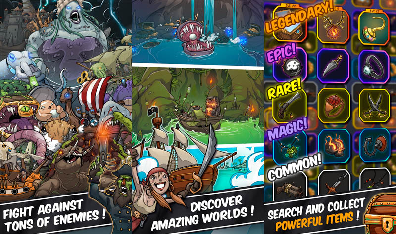 Tap Pirates - Fight against tons of enemies discover worlds search collect powerful items