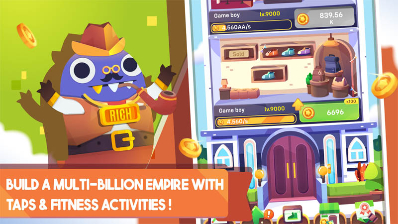 Fit Millionaire - Build a multi billion empire with taps fitness activities