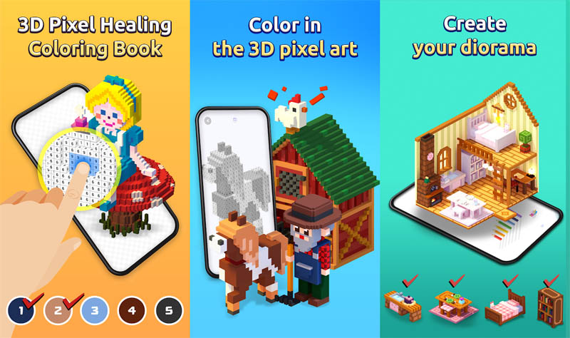 My Coloring - 3D Pixel Healing Coloring Book Color and Create your diorama