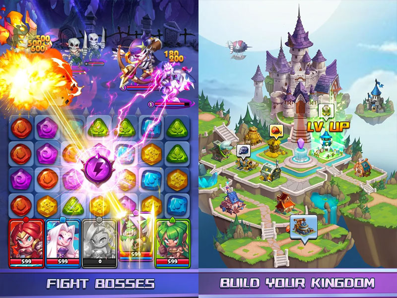Raids and Puzzles RPG Quest - Fight Bosses Build Your Kingdom