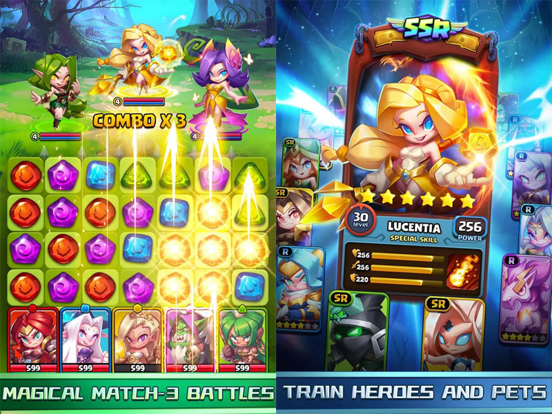 Raids and Puzzles RPG Quest - Magical Match 3 Battles Train Heroes And Pets