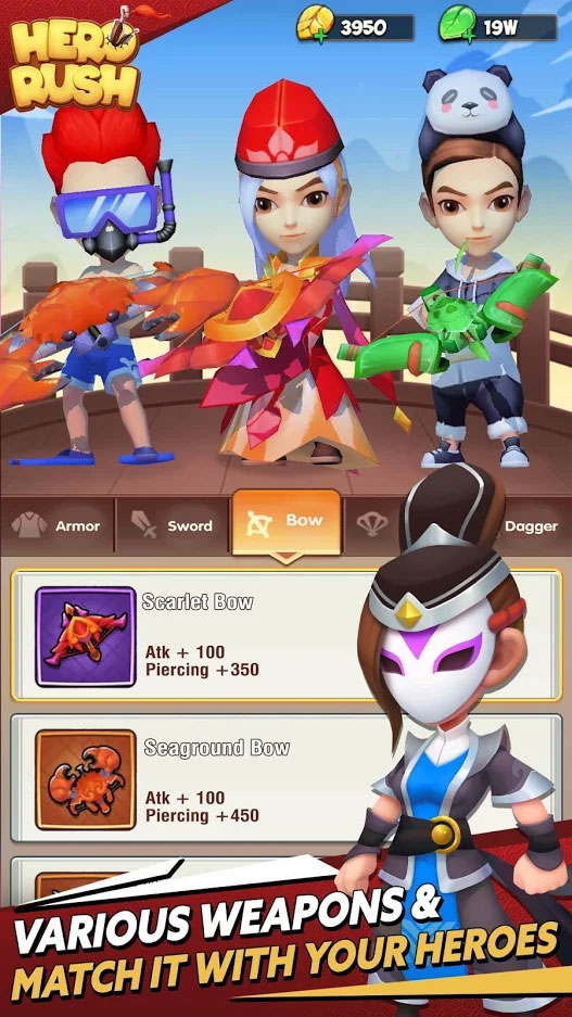 Hero Rush - Various Weapons and Match it With Your Heroes