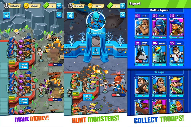 Idle Monster Tycoon - Make Money Hunt Monsters Collect Troops
