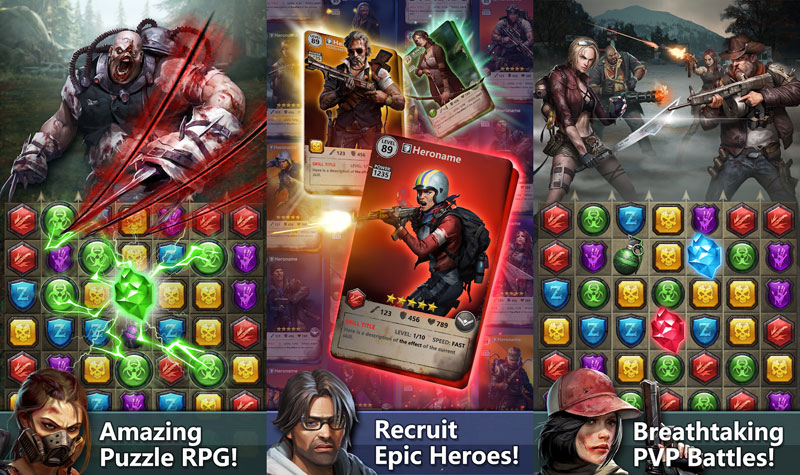 Zombies Puzzles - Amazing Puzzle RPG Recruit Epic Heroes Breathtaking PVP Battles