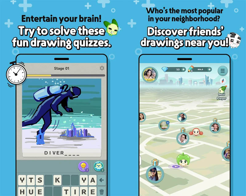 KOONGYA Draw Party - Try to solve fun drawing quizzes Discover friends near you