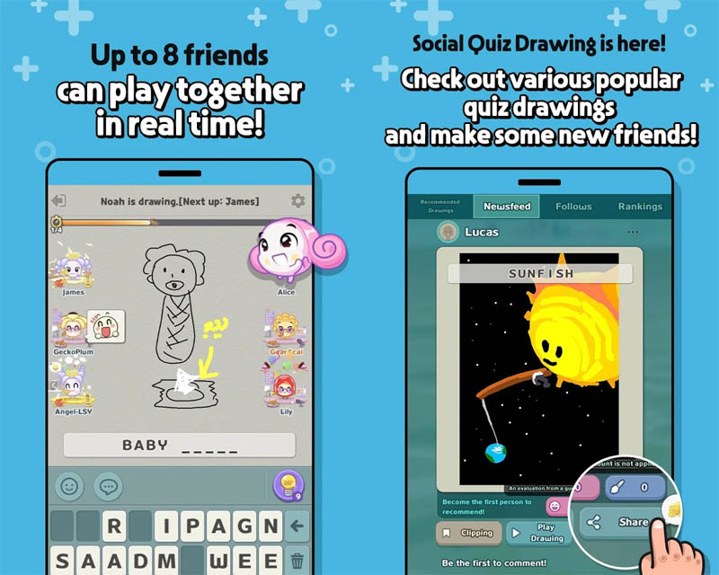 KOONGYA Draw Party - Up to 8 friends can play together in real time