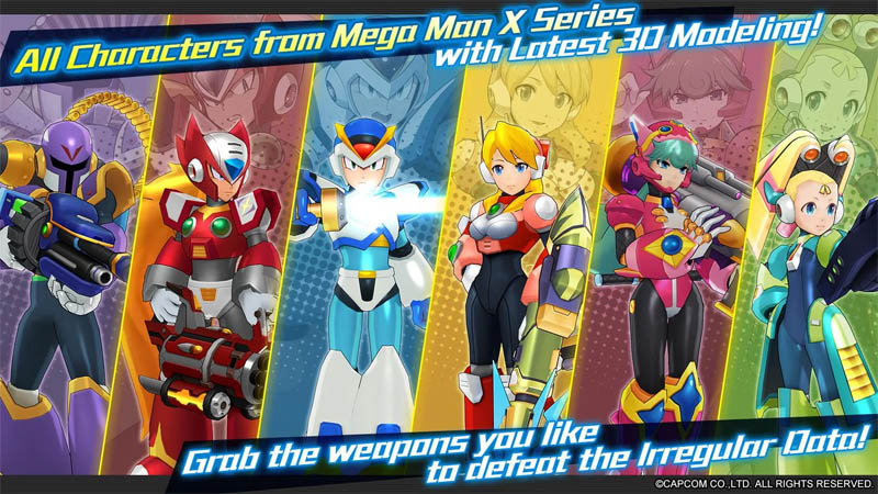 MEGA MAN X DiVE - All Characters from Mega Man X - Grab the weapons you like to defeat Irregular Data