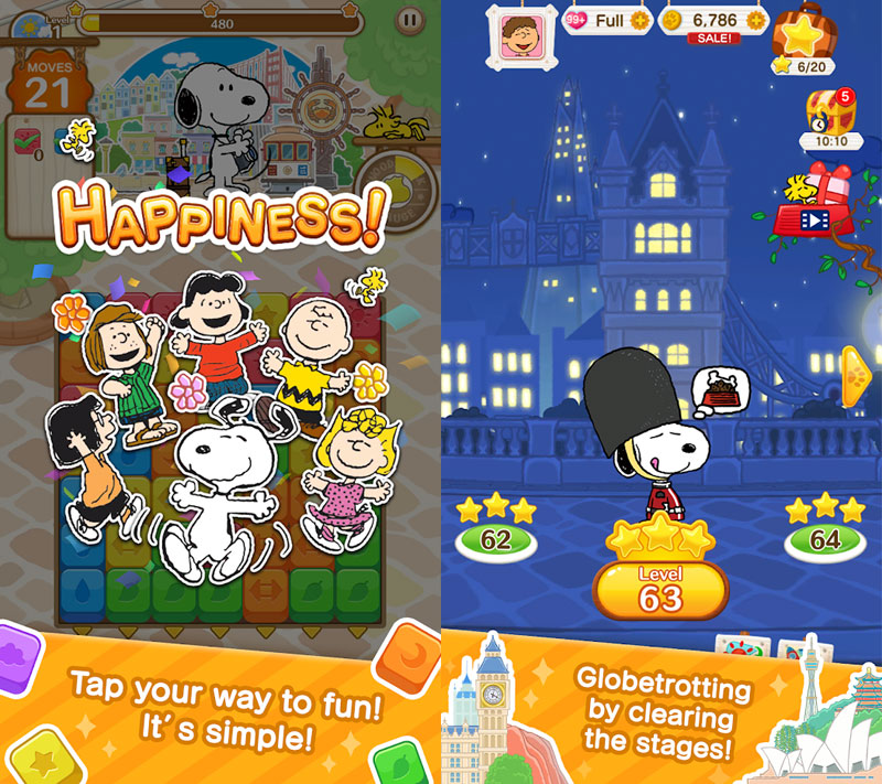 SNOOPY Puzzle Journey - Happiness Tap your way to fun Globetrotting by clearing stages