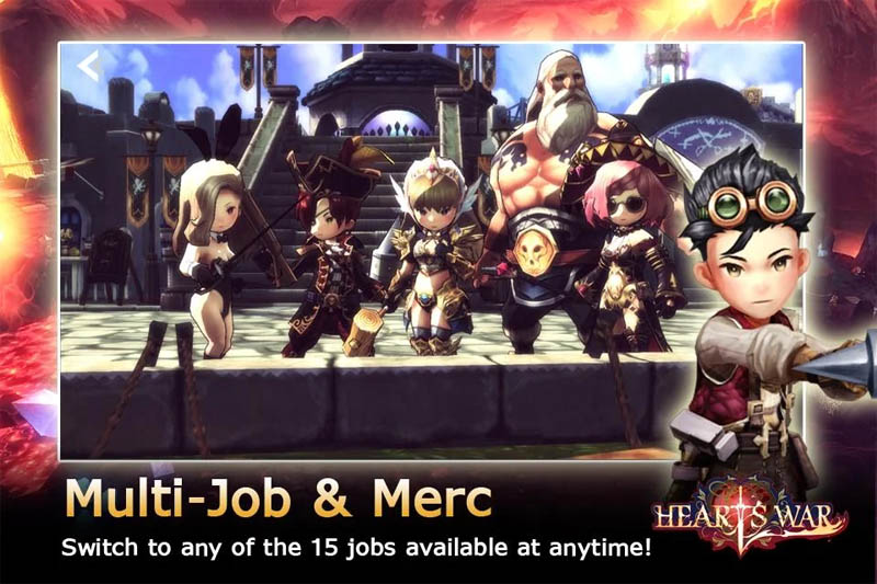 HeartsWar - Multi job and Merc Switch to any of the 15 jobs available at anytime