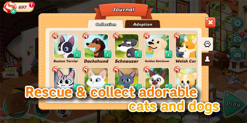 Hellopet House - Rescue and collect adorable cats and dogs