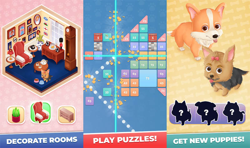 Dog Story Bricks - Decorate Rooms Play Puzzles Get New Puppies