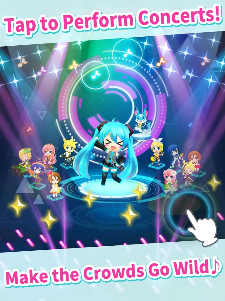 Hatsune Miku Tap Wonder - Tap to Perform Concerts Make the Crowds Go Wild