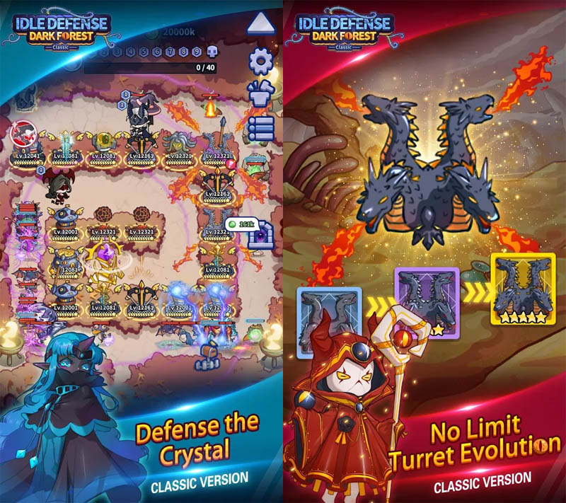 Idle Defense Dark Forest Classic - Pertahankan Crystal Evolusi Turret Tak Terbatas