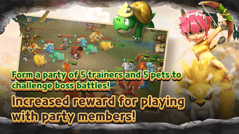 StoneAge World - Form a party of 5 trainers and 5 pets to challenge boss battles