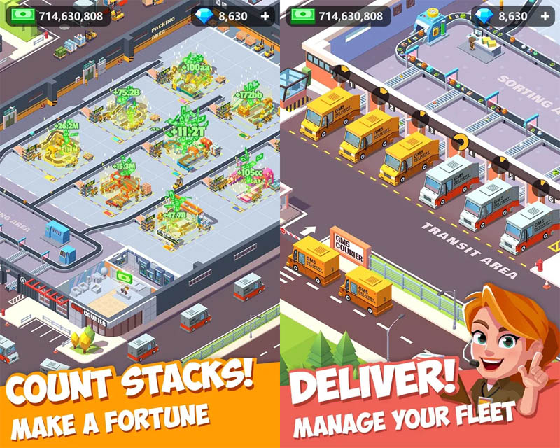 Idle Courier Tycoon - Count Stacks make a fortune Deliver manage your fleet