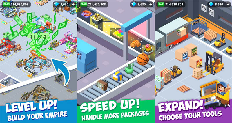 Idle Courier Tycoon - Level up build your empire Speed up handle more packages Expand choose your tools