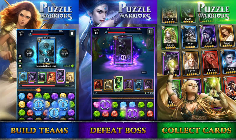 Puzzle Warriors - Build Teams Defeat Boss Collect Cards