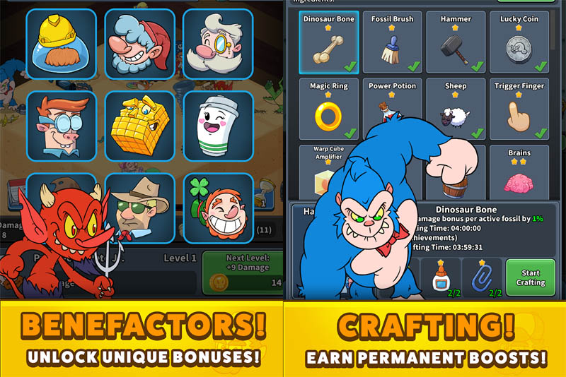 Tap Tap Dig 2 Idle Mine Sim - Benefactors Unlock Unique Bonuses Crafting Earn Permanent Boosts