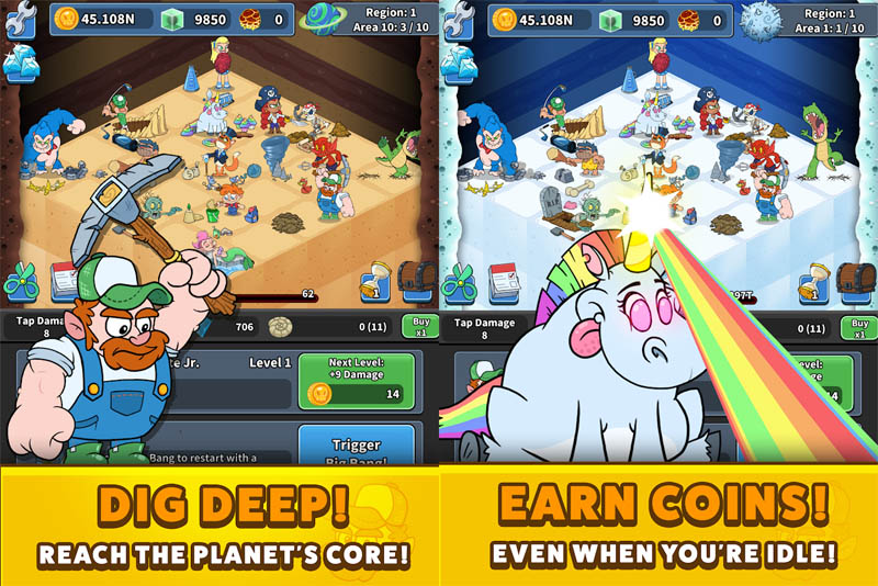 Tap Tap Dig 2 Idle Mine Sim - Dig Deep Reach The Planets Core Earn Coins Even When Idle