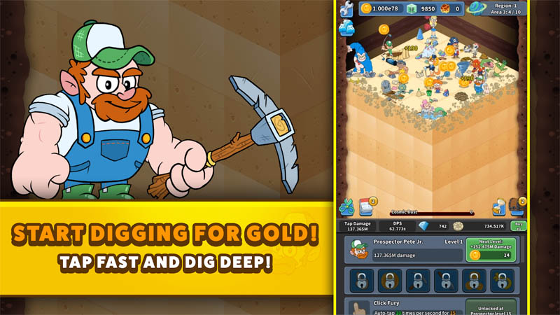 Tap Tap Dig 2 Idle Mine Sim - Start Digging For Gold Tap Fast and Dig Deep