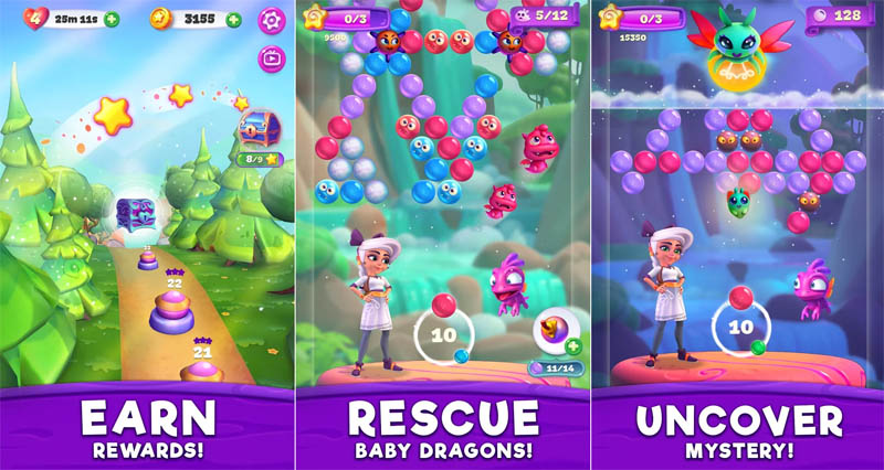 Huuuge Bubble Pop Story - Earn Rewards Rescue Baby Dragons Uncover Mystery