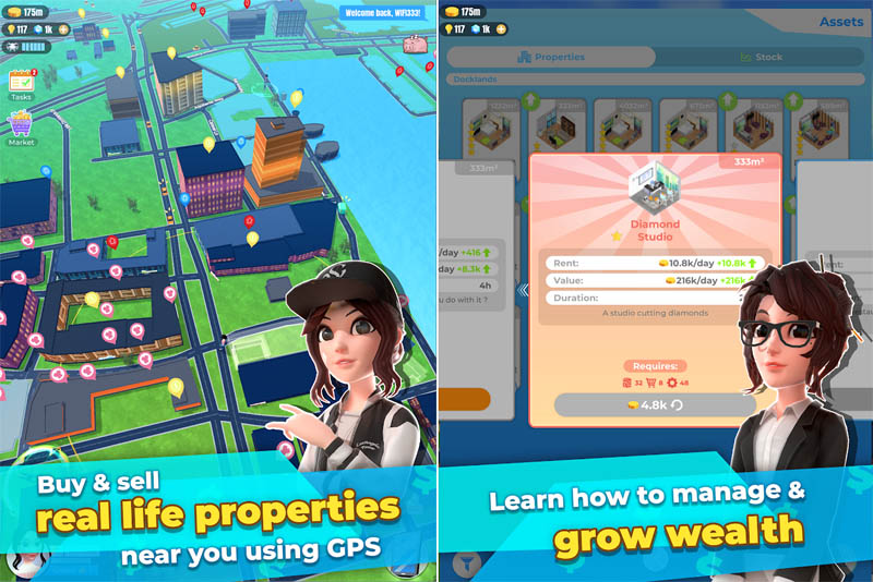 Millionaire Tycoon World - Buy and sell real life properties using GPS manage and grow wealth