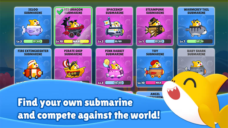Baby Shark Run Away - Find your own submarine and compete against the world