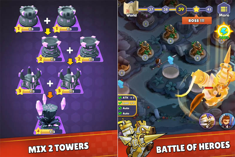 Mini War Idle Tower Defense - Mix 2 Towers Battle of Heroes