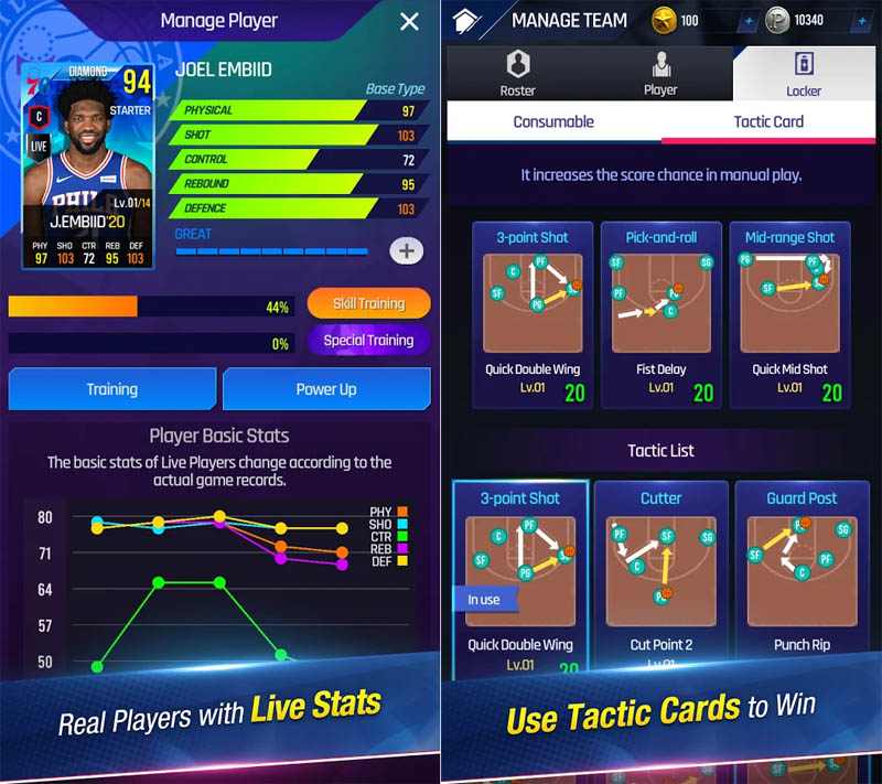 NBA NOW 21 - Real Players with Live Stats Use Tactic Cards to Win