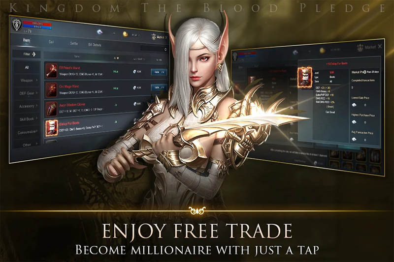 Kingdom The Blood Pledge - Enjoy Free Trade Become Millionaire With Just A Tap