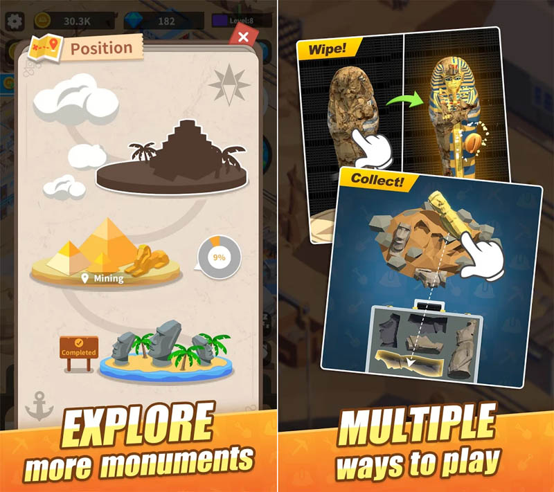 Mini Digger - Explore more monuments Multiple ways to play