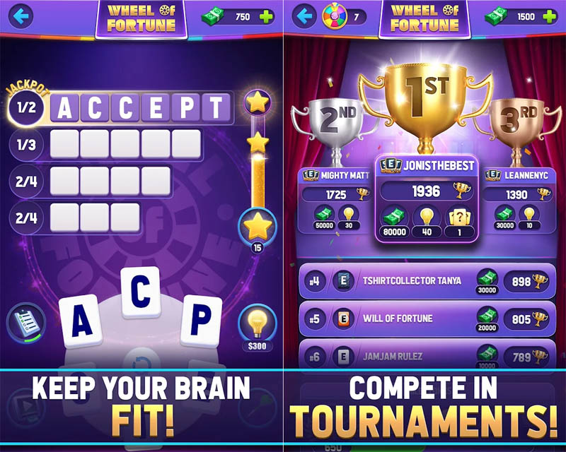 Wheel of Fortune Words of Fortune - Keep Your Brain Fit Compete in Tournaments