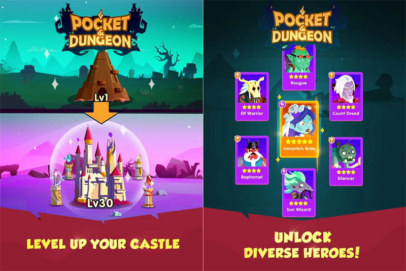 Pocket Dungeon - Level Up Your Castle Unlock Diverse Heroes