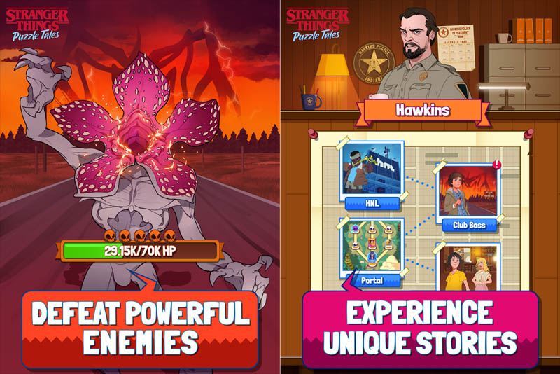 Stranger Things Puzzle Tales - Defeat Powerful Enemies Experience Unique Stories