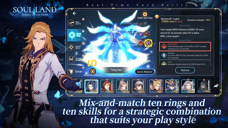 Soul Land Advent of the Gods - Mix and match ten rings and ten skills